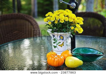 Fall Table With Gourds And Flowers