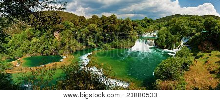 Panorama Of Waterfalls In Krka National Park, Croatia