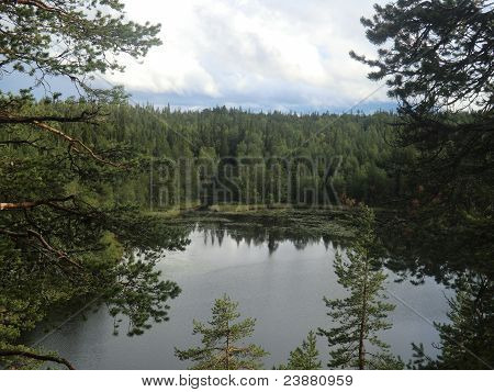 Lake Varatsky in northern Karelia from a high rock of island