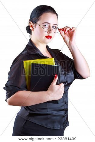 The Woman In Glasses With Books