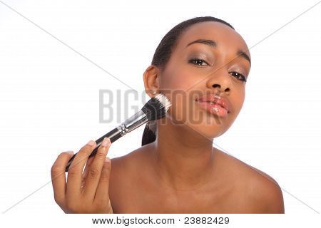 Beautiful African Beautician Make Up Powder Brush
