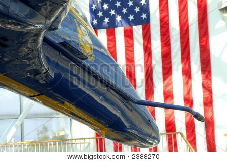 The Front Of A F/A-18 Hornet Blue Jet