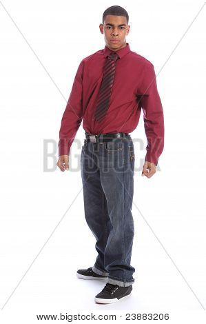 Handsome African American Man Jeans Shirt And Tie