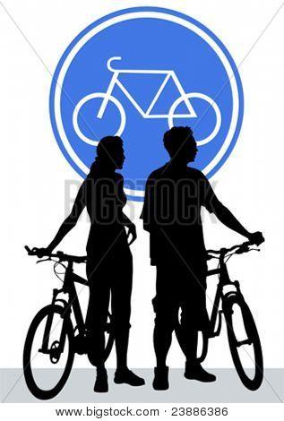 Vektorgrafik Silhouette der Radfahrer jungen und Mädchen
