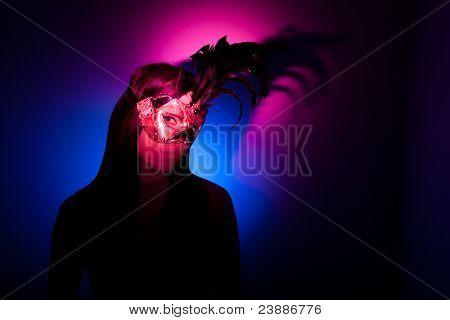 Gil Wearing Venetian Mask, Colourful Spotlights