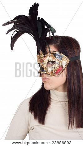 Girl Wearing Venetian Mask, On White