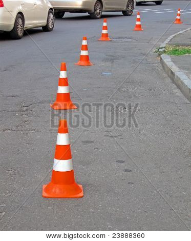 Abstract Road Cones Heap, Security Barier Details