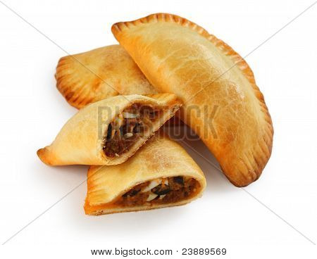 empanada, meat pie on a white background