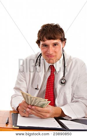 Man Holding Money in Doctor Outfit with Smirk Expression