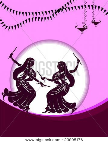 Garba Dancer performing in sunset background, shadow art