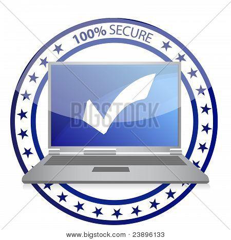 Safe computer illustration design concept