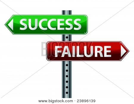 Success and failure signpost on white