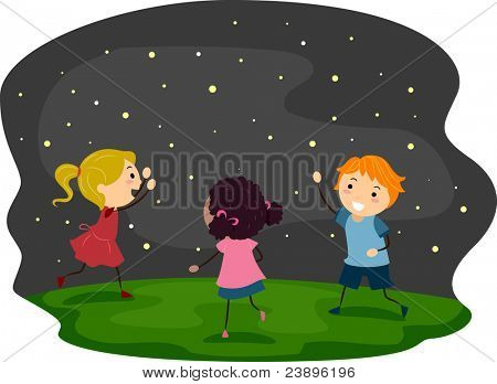 Illustration of Kids Chasing Fireflies