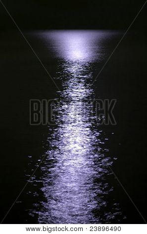 Purple Moon Reflection On Night Sea Water Surface