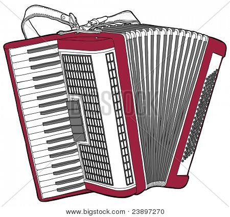 Concert Accordion isolated on a white background.  Bitmap copy my vector ID 69101686