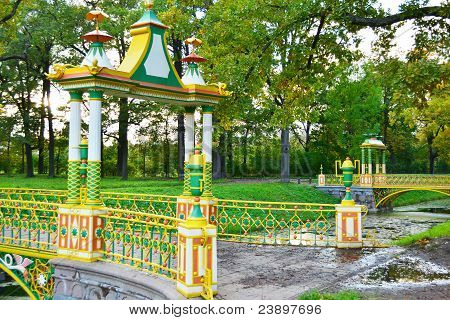 The bridge in Alexander`s park in Tsarskoe Selo