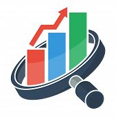 Logo Icons For Business Marketing And Sales, Business Consulting Services. Illustrated With Magnifyi poster