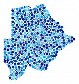 Постер, плакат: Botswana Map Composition Of Spheric Dots In Variable Sizes And Blue Color Tinges Randomized Dots Ar