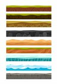 Vector Illustration Set Of Grounds, Soil And Land For Ui Game. Collection Of Cartoon Soils And Land  poster