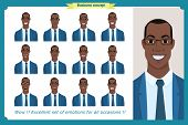 Set Of Male Facial Emotions.black American Business Man Character With Different Expressions.vector  poster