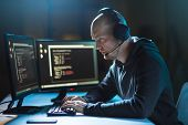 cybercrime, hacking and technology concept - male hacker with headset and coding on computer screen  poster