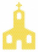 Halftone Hexagonal Christian Church Icon. Pictogram On A White Background. Vector Concept Of Christi poster