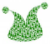 Joker Hat Collage Of Wine Bottles And Round Bubbles In Various Sizes And Green Colors. Vector Object poster