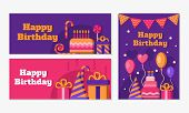 Collection Of Happy Birthday Banners. Set Of Greeting Templates. Invitation Cards To The Party. Vect poster