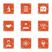 Scientific Assistance Icons Set. Grunge Set Of 9 Scientific Assistance Vector Icons For Web Isolated poster