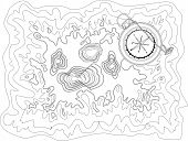 Vector Black And White Map Pattern With Abstract Topographical Contour Lines Of Mountains, Latitude  poster