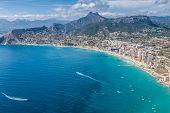 Coastline Of Mediterranean Resort Calpe, Spain With Sea And Lake poster