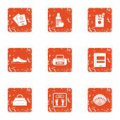 Sport Occupation Icons Set. Grunge Set Of 9 Sport Occupation Vector Icons For Web Isolated On White  poster