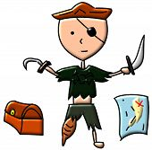 image of peg-leg  - A peg leg pirate with a treasure chest - JPG