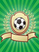 Soccer Championship Design Shiny Gold Shield Laurel Ribbon Banner On Green Sunray Background poster