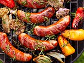 Grilled Sausages And Vegetables On A Grilled Plate, Outdoor, Top View. Grilled Food, Bbq poster