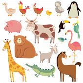 Baby Cartoons Wild Bear, Giraffe, Crocodile, Bird And Domestic Animals. Cute Cartoon Animal Kids Vec poster