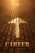 Career Concept With Arrow. Career Word Written On Road At The Sunset. Forward To Infinity. Conceptua poster