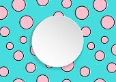 Pop Art Colorful Confetti Background. Big Colored Spots And Circles On White Background With Black D poster