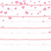 Pink Glitter Confetti With Hearts On Pink Stripes. Falling Sequins With Metallic Shimmer. Template W poster