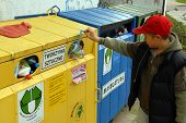foto of recycling bins  - A public recycling center for the disposal of renewable resources - JPG