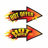The Set Of Hot Price. Hot Offer Burning Labels Discount 10%. 15%. 20%. 30%. 70% And Tags For Hot Sal poster