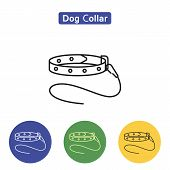 Dog Collar Line Icon Logo Element Vector Illustration. Flat Outline Symbols Of Canine Leash In Color poster