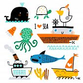 Vector Set Of Childrens Drawings - Sea Life, Underwater Monsters, Whale, Shark And Ship. Sea Trip.  poster