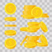 Set Coins Stack Vector Illustration, Icon Flat Finance Heap, Dollar Coin Pile. Golden Money Standing poster