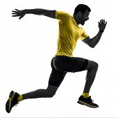 one caucasian man runner running jogging jogger silhouette isolated on white background poster