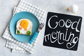 Good Morning Breakfast For Kids. Egg Sandwich Chicken. Creative Food Art Sandwich. Cute Funny Chicke poster