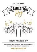 Graduation Ceremony Party Invitation Card With Hands Raised Throwing Academic Hats Up And Showing Di poster