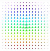 Christian Church Icon Rainbow Colored Halftone Pattern. Vector Christian Church Items Organized Into poster