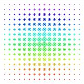 Cogwheel Icon Spectral Halftone Pattern. Vector Cogwheel Objects Arranged Into Halftone Grid With Ve poster