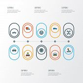 Automobile Icons Colored Line Set With Wheel, Tesla, Pickup And Other Van  Elements. Isolated Vector poster